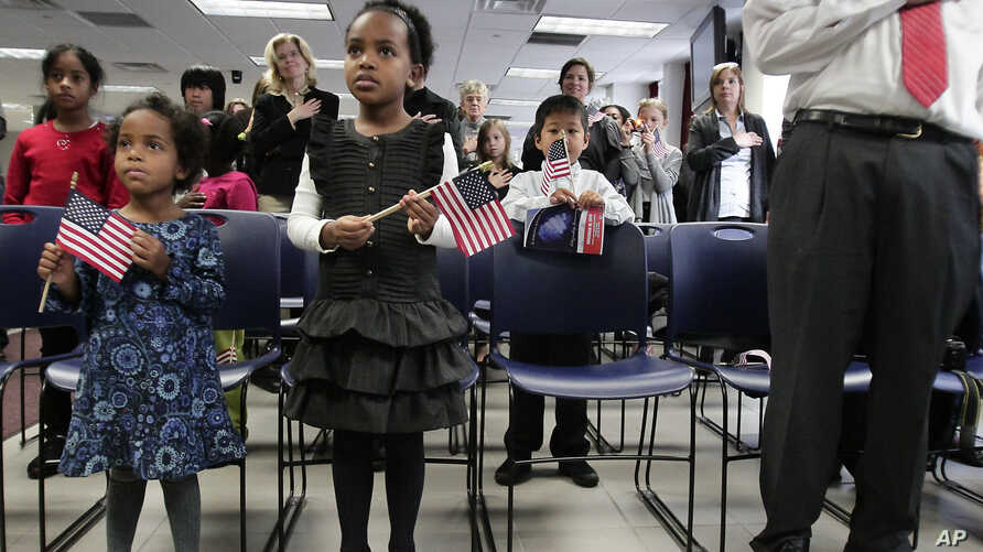 FILE - A pair of sisters adopted in Ethiopia hold flags as they listen to the singing of the national anthem at an adoption day ceremony in New York, Nov. 18, 2010.