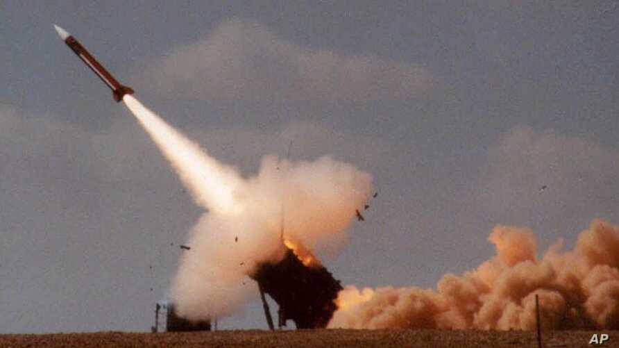 A Patriot missile is seen as it is launched.