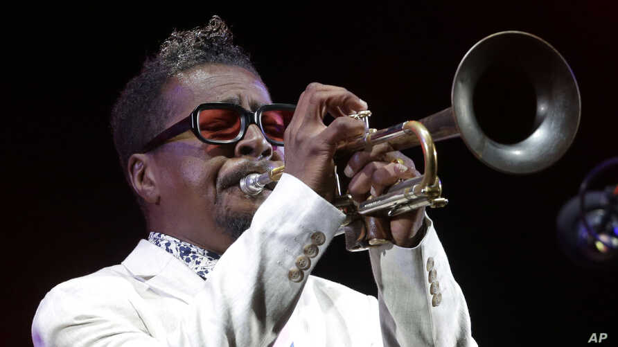 FILE - American jazz trumpeter Roy Hargrove performs at the Five Continents Jazz festival, in Marseille, southern France,  July 26, 2018.