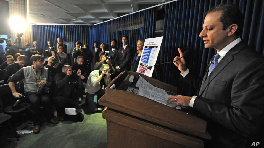 U.S. Attorney Preet Bharara speaks at a press conference concerning a case in which federal prosecutors say hedge fund giant SAC Capital Advisors has agreed to plead guilty to fraud charges and to pay a $1.8 billion financial penalty, in New York, No