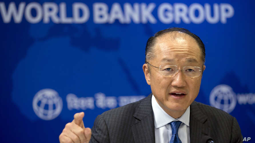 FILE - World Bank President Jim Yong Kim speaks at a news conference in New Delhi, India, June 30, 2016.