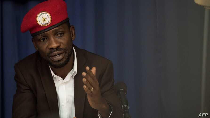 Ugandan politician Robert Kyagulanyi, better known as pop star Bobi Wine, gives a press conference, Sept. 6, 2018, in Washington, for the first time after being treated for beatings he allegedly received from security officers after his arrest last m