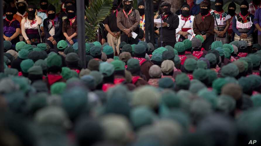 Members of the Zapatista National Liberation Army (EZLN) attend an event marking the 25th anniversary of the Zapatista uprising in La Realidad, Chiapas, Mexico, Dec. 31, 2018.