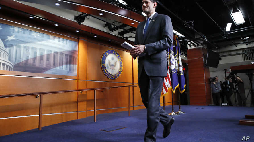 House Speaker Paul Ryan of Wis., leaves a news conference after announcing that he will not run for re-election at the end of this term, April 11, 2018, on Capitol Hill in Washington.