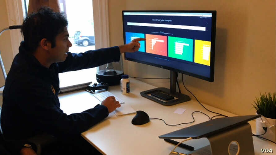 Bhat and Phadte have developed a software program called botcheck.me that looks for 100 characteristics in Twitter accounts that they say are common among bots. (Photo: M. Quinn / VOA)