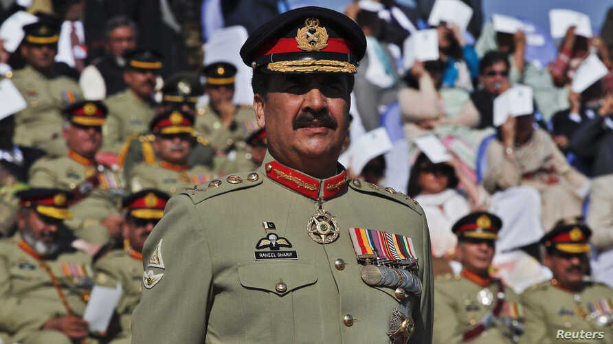 FILE - Pakistan's Army Chief General Raheel Sharif attends the change of command ceremony at army headquarters in Rawalpindi, Nov. 29, 2013.