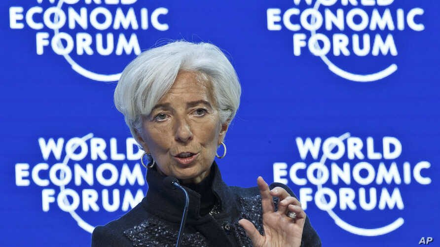 "Managing Director of the International Monetary Fund, Christine Lagarde,  speaks during a panel ""The Global Economic Outlook"" at the World Economic Forum in Davos, Switzerland, Jan. 23, 2016."
