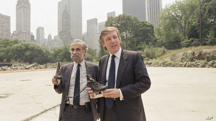 Donald Trump, right, poses with New York City's Park Commissioner Henry Stern holding a pair of ice skates that are intended for use at the Wollman Skating Rink Central Park in New York, Aug. 7, 1986.