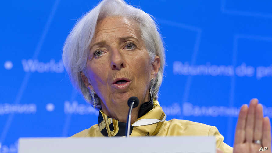 International Monetary Fund (IMF) Managing Director Christine Lagarde speaks during a news conference at the World Bank/IMF Spring Meetings in Washington, Thursday, April 19, 2018.