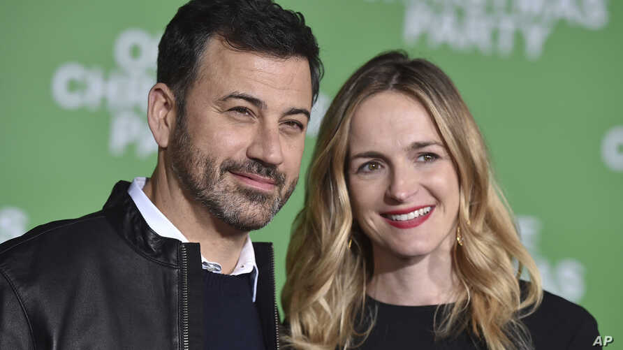 """FILE - Jimmy Kimmel, left, and Molly McNearney arrive at the Los Angeles premiere of """"Office Christmas Party"""" at the Village Theatre Westwood, Dec. 7, 2016."""
