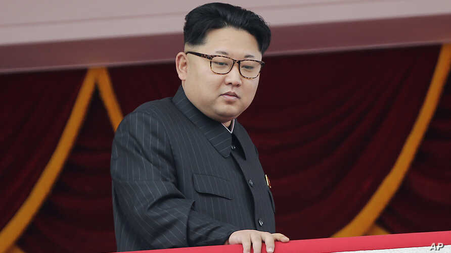 FILE - North Korea's leader Kim Jong Un watches a parade from a balcony at the Kim Il Sung Square in Pyongyang.
