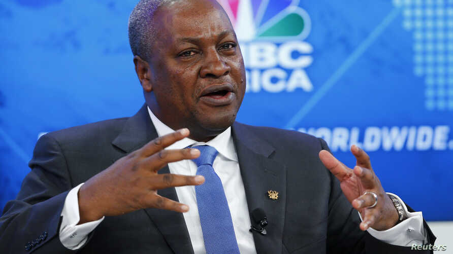 FILE - Ghana's President John Dramani Mahama speaks during a session at the annual meeting of the World Economic Forum (WEF) in Davos, January 22, 2014.