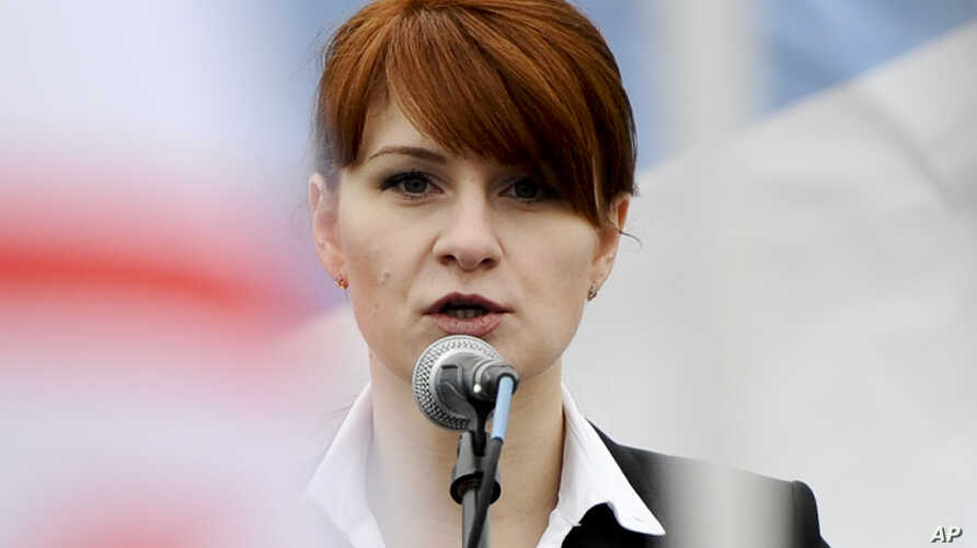 FILE - Maria Butina, leader of a pro-gun organization in Russia, speaks to a crowd during a rally in support of legalizing the possession of handguns in Moscow, Russia.