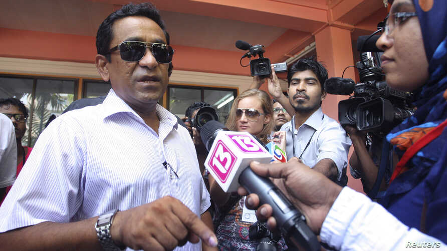 Progressive Party of Maldives presidential candidate Abdulla Yameen after casting his vote, Male, Nov. 9, 2013.