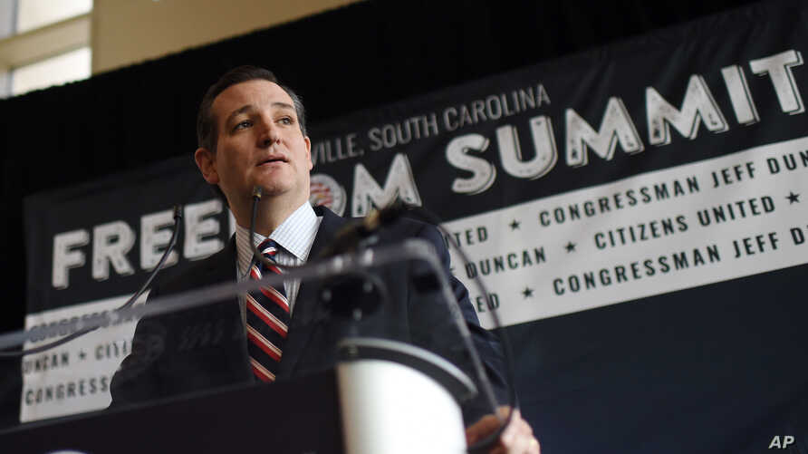 Republican presidential candidate Sen. Ted Cruz, R-Texas speaks to the media at the Freedom Summit in Greenville, S.C., May 9, 2015.