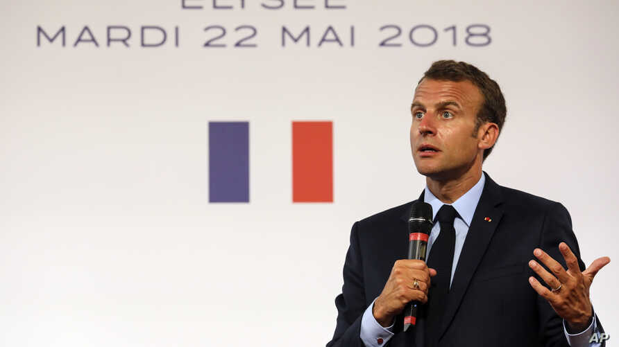 French president Emmanuel Macron speaks during the presentation of the French government's battle plan for the country's most deprived areas, May 22, 2018 at the Elysee Palace in Paris.