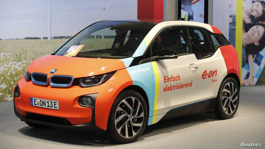 A BMW 3 electric car is seen during the E.ON annual shareholders meeting in Essen, Germany, May 9, 2018.