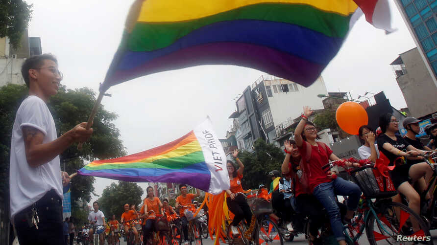 """Participants attend the 5th annual LGBT (Lesbian, Gay, Bisexual  and Transgender) pride parade entitled """"Viet Pride - Path of Pride"""" in Hanoi, Vietnam"""
