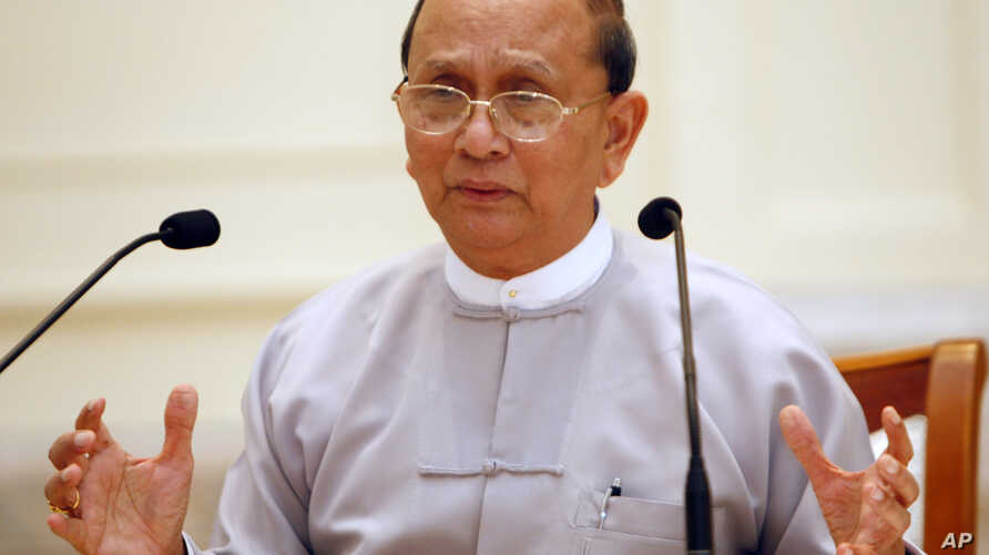 Burmese President Thein Sein talks during a press conference at Presidential House in Naypyitaw, Sunday, Oct. 21, 2012.