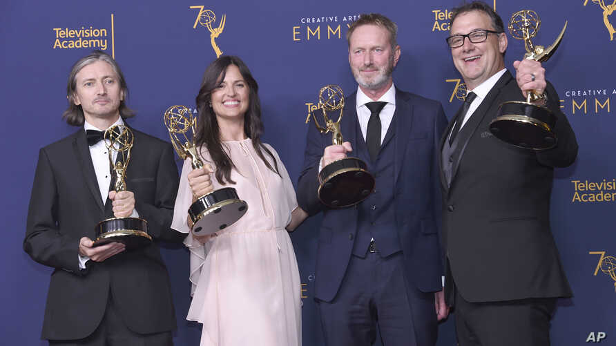 "From left; Ronan Hill, Onnalee Blank, Richard Dyer, and Mathew Waters winners of the award for outstanding sound mixing for a comedy or drama series (one-hour) for ""Game of Thrones - Beyond The Wall"" pose in the press room during night one of the Cre"