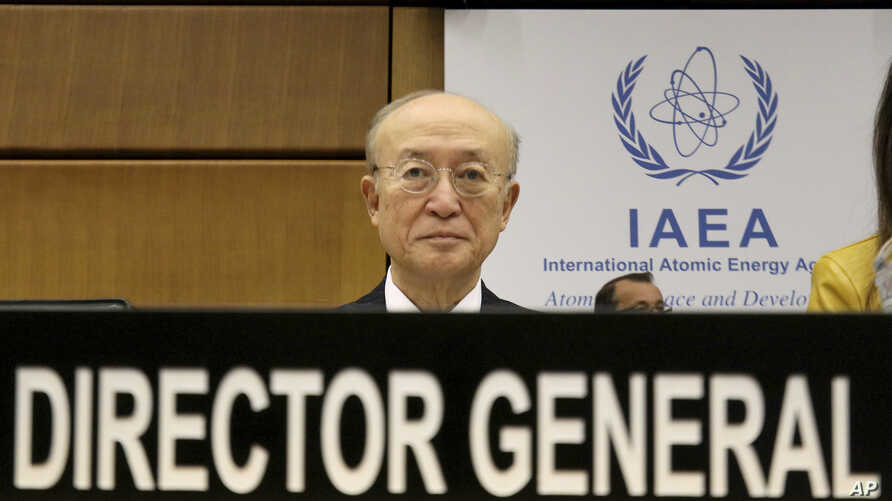 Director General of the International Atomic Energy Agency, IAEA, Yukiya Amano of Japan, waits for the start of the IAEA board of governors meeting at the International Center in Vienna, Austria, Nov. 22, 2018.