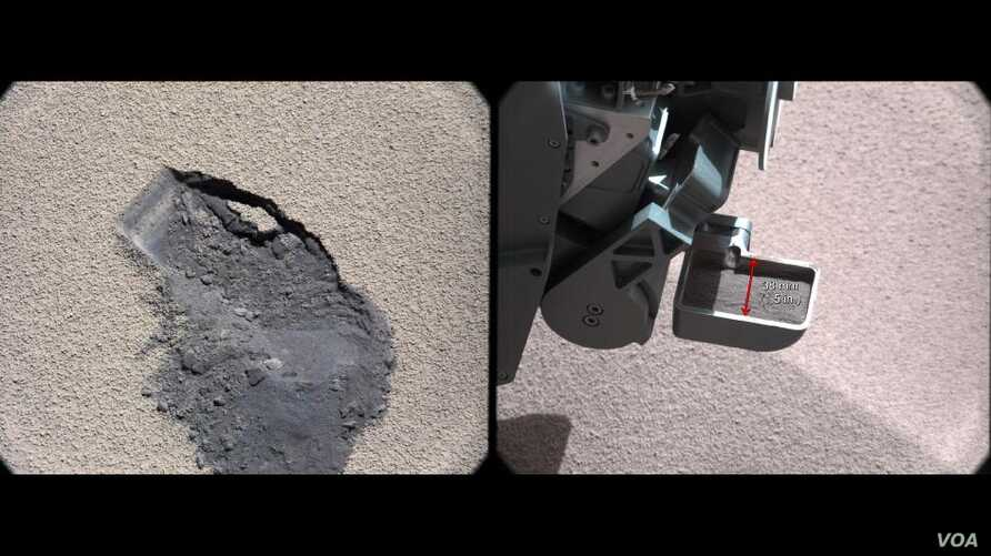 """This pair of images shows a """"bite mark"""" where NASA's Curiosity rover scooped up some Martian soil (left), and the scoop carrying soil. The first scoop sample was taken from the """"Rocknest"""" patch of dust and sand on Oct. 7, 2012, the 61st sol, or Marti"""