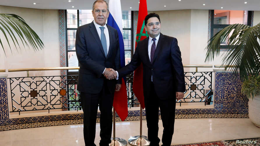 Moroccan Foreign Minister Nasser Bourita meets Russian counterpart Sergei Lavrov in Morocco's capital Rabat, Jan. 25, 2019.