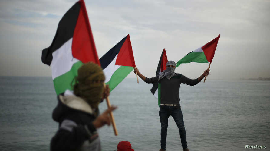 Palestinians wave national flags during a protest against the blockade on Gaza, at the seaport of Gaza City Dec. 2, 2013.