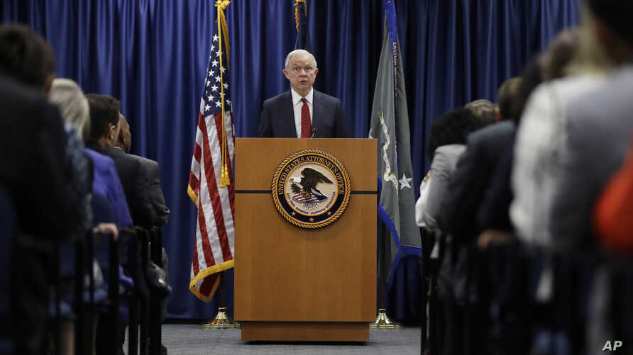 """Attorney General Jeff Sessions speaks at the U.S. Attorney's Office in Philadelphia, July 21, 2017.  Sessions recently singled out Philadelphia, saying the city is advertising its policy and """"protecting criminals."""""""