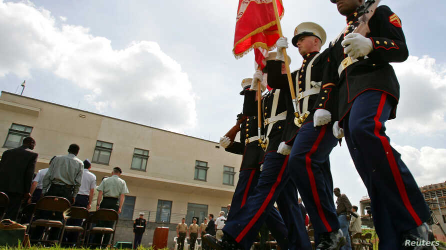 File - US Marines on the grounds of the U.S. embassy compound in Nairobi.