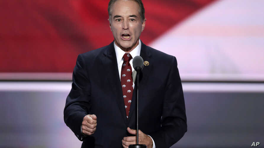 FILE - Rep. Chris Collins, R-NY., speaks during the second day of the Republican National Convention in Cleveland, July 19, 2016.