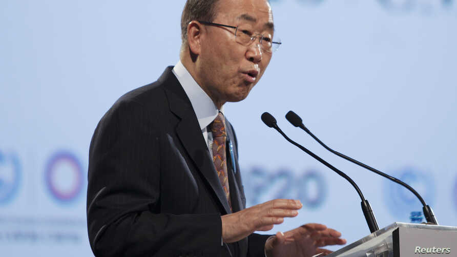 United Nations Secretary-General Ban Ki-moon delivers a speech during the High Level Segment of the U.N. Climate Change Conference COP 20 in Lima, Dec. 11, 2014.