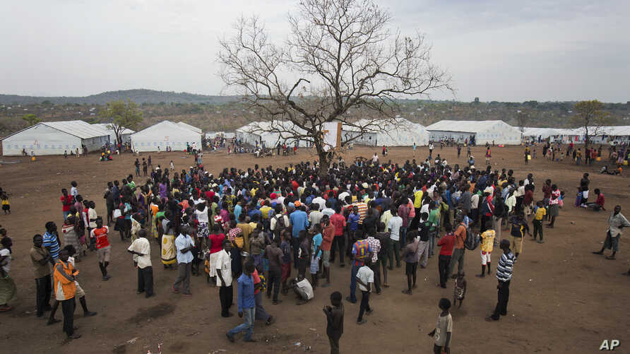 In this April 3, 2017, photo in the Imvepi camp, South Sudanese refugees gather under a tree from which names are announced for those allocated a land parcel from the Ugandan government. The civil war in South Sudan has killed tens of thousands and d