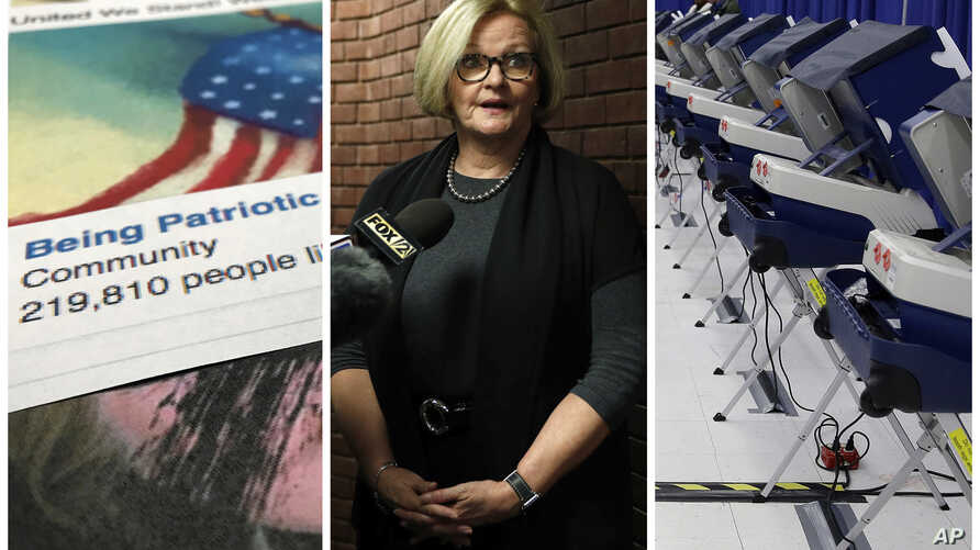 """This combination of 2017-2018 photos shows from left, a Facebook posting from a group named """"Being Patriotic"""" attributed to Russian agents by the U.S. House Intelligence Committee, Democratic Sen. Claire McCaskill of Missouri whose campaign was targe"""