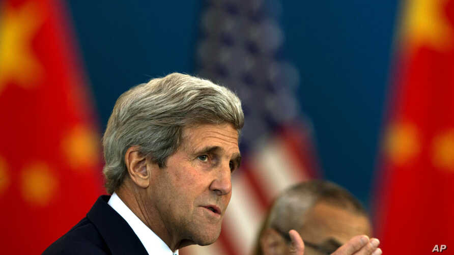 U.S. Secretary of State John Kerry speaks at the Strategic Dialogue expanded meeting with Chinese officials, July 10, 2014.