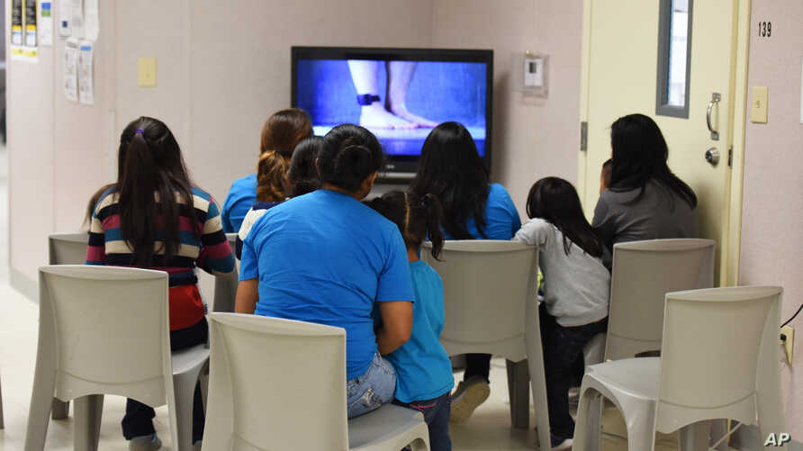FILE - This photo provided by U.S. Immigration and Customs Enforcement shows a scene from a tour of South Texas Family Residential Center in Dilley, Texas, Aug. 9, 2018.