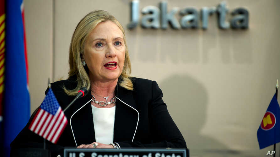 U.S. Secretary of State Hillary Rodham Clinton delivers remarks during a meeting at the ASEAN Secretariat in Jakarta, Indonesia, on Sept. 4, 2012.