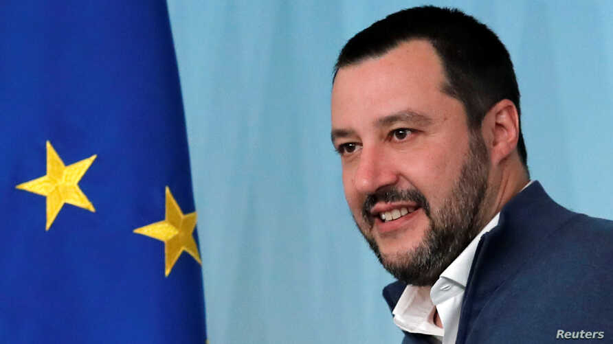 FILE - Italy's Interior Minister Matteo Salvini arrives to attend a news conference regarding the return of former leftist guerrilla Cesare Battisti, in Rome, Italy, Jan. 14, 2019.