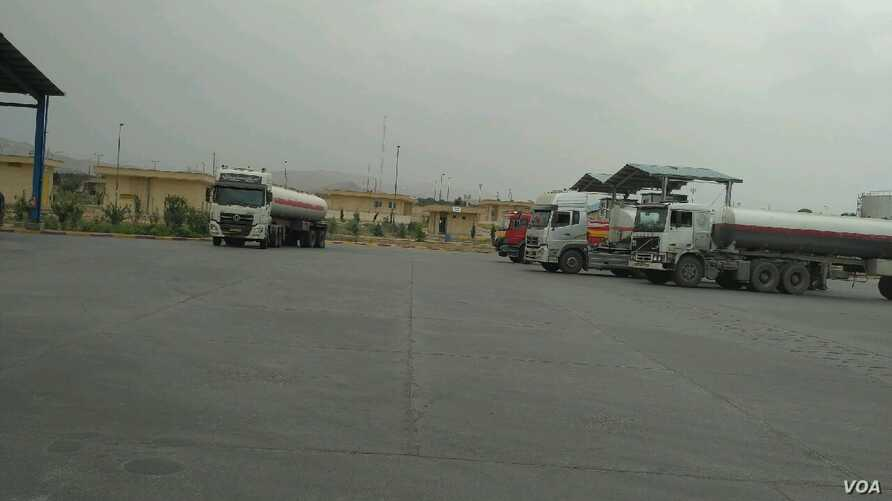 Iranian gasoline tanker truck drivers on strike in southern Iran's Fars province on May 23, 2018.