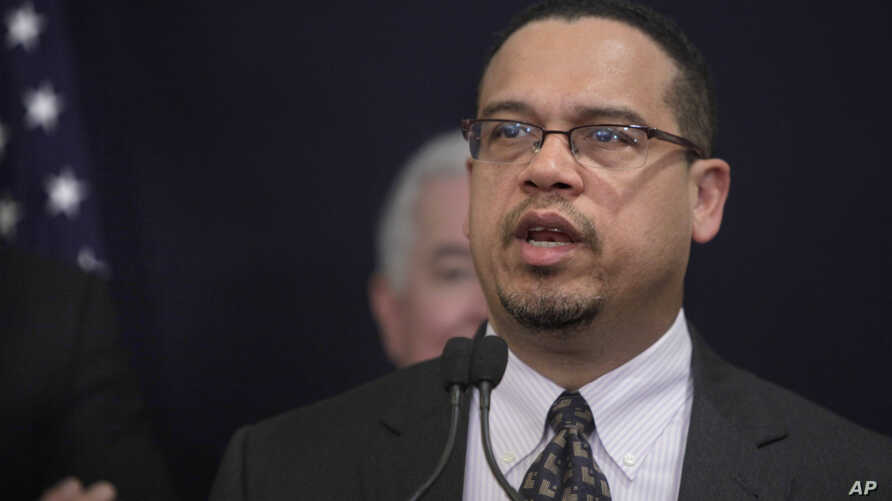 U.S. Rep. Keith Ellison, the first Muslim elected to congress, (D-MN), talks during a press conference in Cairo, Egypt, Mar. 15, 2012.