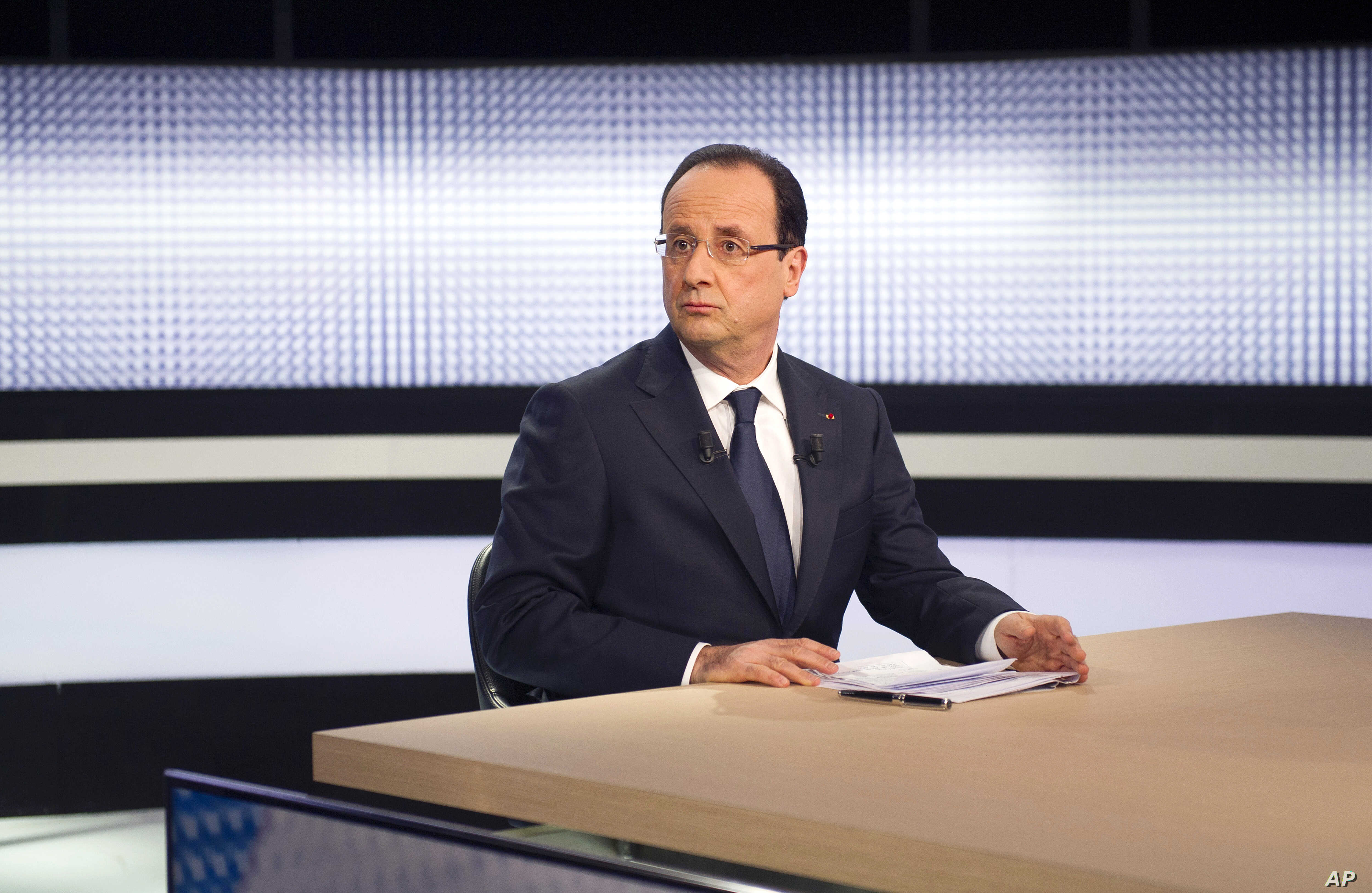 France President Francois Hollande during a televised interview on a French TV channel, March 28, 2013, in Paris.