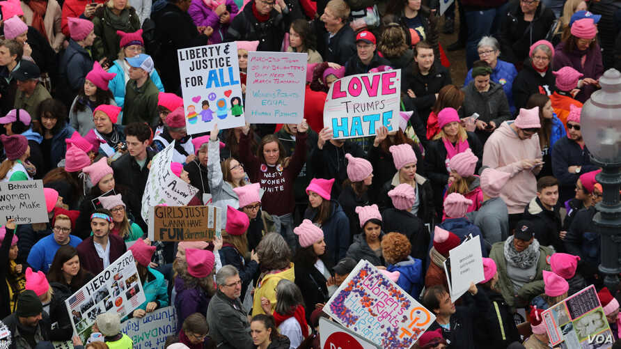 Protesters gather near the U.S. Capitol in Washington D.C. for the Women' March, Jan. 21, 2017. (Photo: B. Allen / VOA)