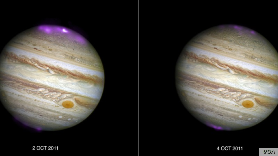 Jupiter's X-ray emission (in magenta and white, for the brightest spot, overlaid on a Hubble Space Telescope optical image) captured by Chandra as a coronal mass ejection (CME) reaches the planet on 2 October 2011, and then after the solar wind subsi