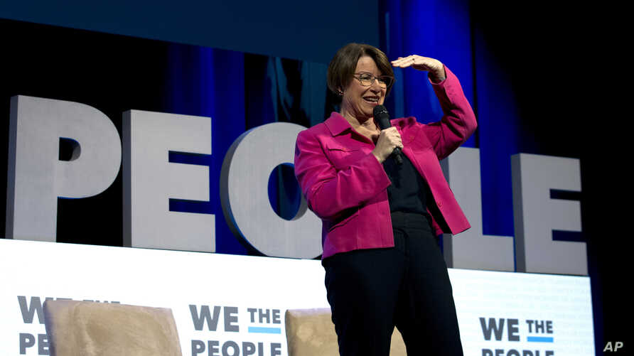 Democratic presidential candidate Sen. Amy Klobuchar, D-Minn., speaks during the We the People Membership Summit, featuring the 2020 Democratic presidential candidates, at the Warner Theatre, in Washington, April 1, 2019.