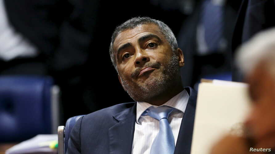 "Former Brazil striker and current senator Romario, pictured at the Brazilian Federal Senate in Brasilia, applauded U.S. efforts to crack down on alleged corruption within FIFA, saying, 'Thieves have to go to jail,"" May 27, 2015. May 27, 2015."