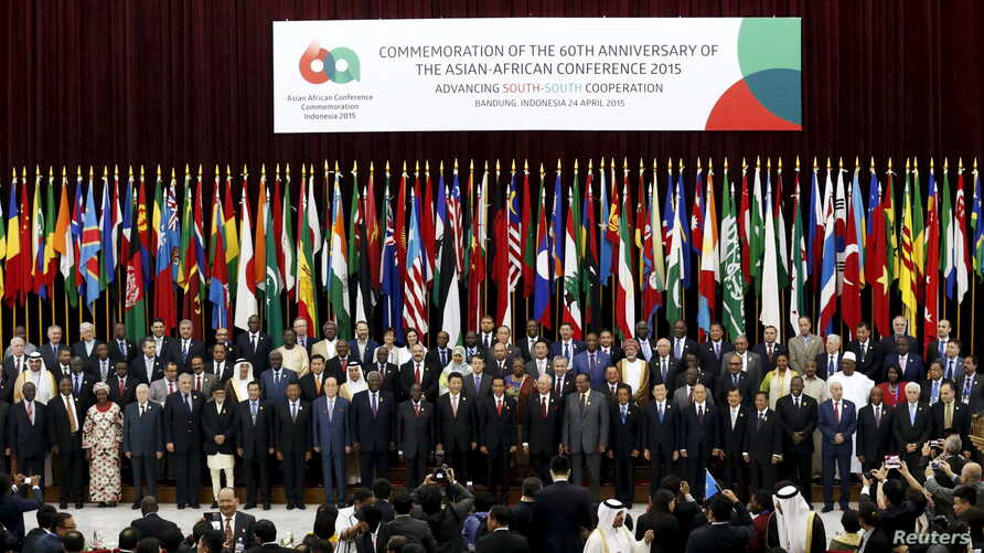 Asian and African leaders pose for photographs during a photo session to mark the 60th Asian-African Conference Commemoration at Gedung Merdeka in Bandung, Indonesia, April 24, 2015.