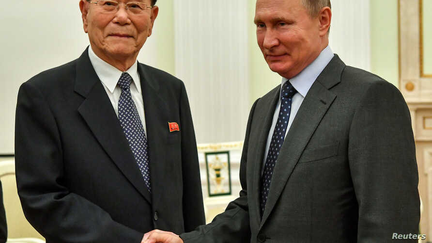 Russian President Vladimir Putin meets North Korea's President of the Supreme People's Assembly Kim Yong Nam at the Kremlin in Moscow, June 14, 2018. Russian Interior Ministry records show Russia has allowed more than 10,000 new North Korean workers