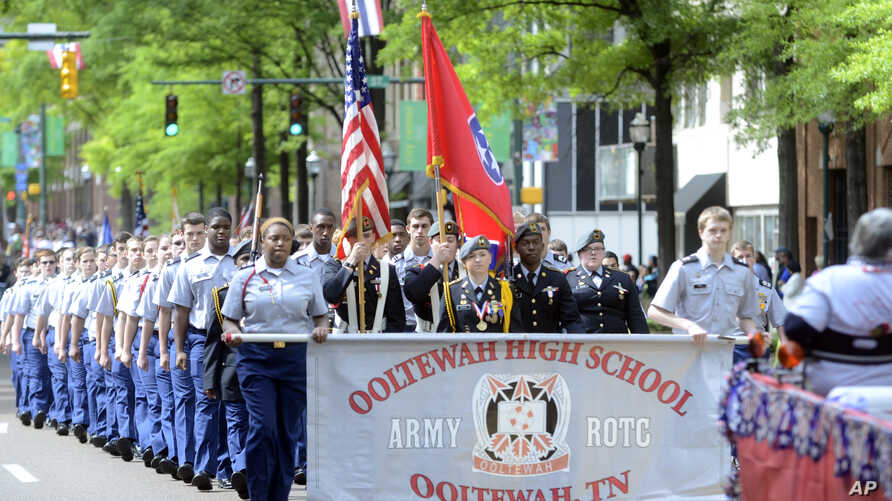 The Ooltewah High School Army ROTC at the 65th annual Armed Forces Day parade in Chattanooga, TN, May 2, 2014