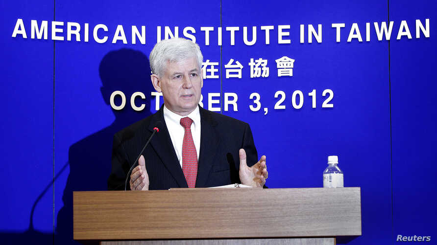 Christopher Marut, Director of the American Institute in Taiwan (AIT), the de facto U.S. embassy in Taiwan, answers a question during a news conference in Taipei, October 3, 2012. The U.S. Department of Homeland Security included Taiwan as one of the