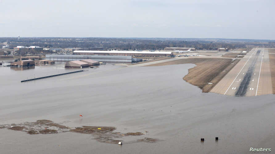 FILE PHOTO: Offutt Air Force Base and the surrounding areas affected by flood waters are seen in this aerial photo taken in Nebraska, U.S., on March 16, 2019.